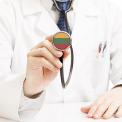 Doctor holding stethoscope with flag series - Lithuania