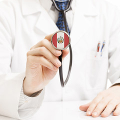 Doctor holding stethoscope with flag series - Peru
