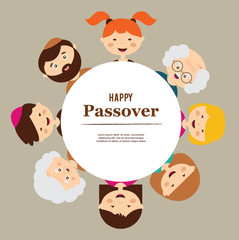 big family around passover plate. happy holiday.