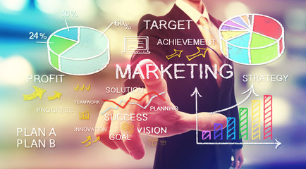 Businessman pointing at business marketing concepts