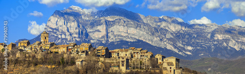 Leinwandbild Motiv Ainsa - beautiful mountain village in Aragon, Spain (border with