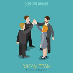 Dream team togetherness flat 3d web isometric concept