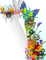 collection of insects with blank sign in the flower garden