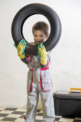 Boy and tires