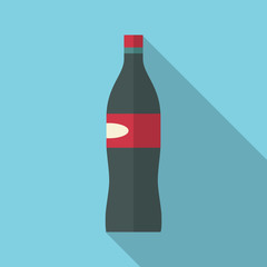 Soda flat design icon with long shadow effect. Modern colors