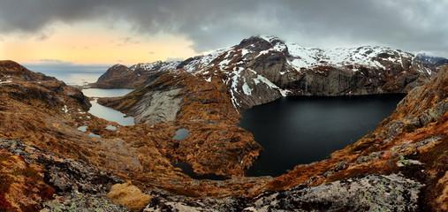 Mountain panorama in Norway, Lofoten - Moskenesoya