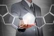 businessman hand pushing an empty touch screen