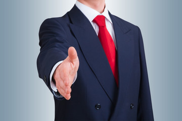 young business man offering to shake hands. Clipping path