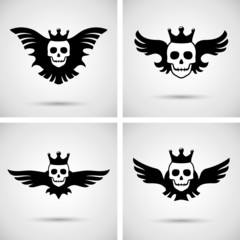 Skull with crown and wings. Vector illustration