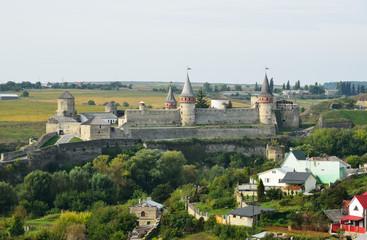 Ukrainian city Kamyanets-Podilsky with a medieval fortress