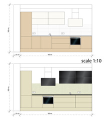 Kitchen furniture. Interior furniture. Vector illustration scale