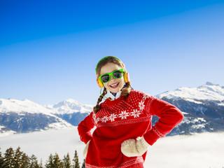 Winter vacation - girl enjoying winter