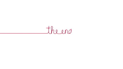 Handwritten THE END text sign. Line separator, overlay, alpha