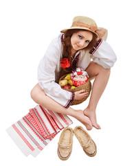 Happy Ukrainian woman with amulets