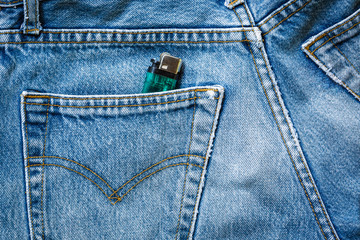 jeans bag with green zippo