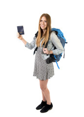 happy young student tourist woman with backpack and passport