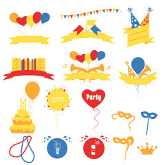 Birthday Party Celebration Banners, Flat Vector Illustration
