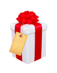 present box with red bow and blank tag isolated on white