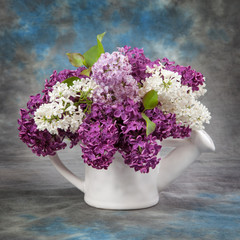 Spring concept. Lilac in pitcher
