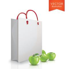 Package apples, green apples
