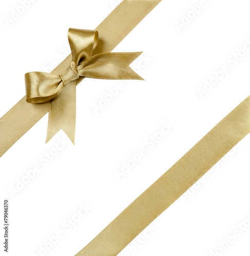 Gift ribbon with bow isolated on white - 79046370