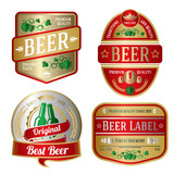 Set of bright beer labels, different shapes. Vector