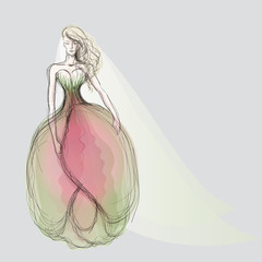 Tulip wedding dress / Sketch of fairy bride