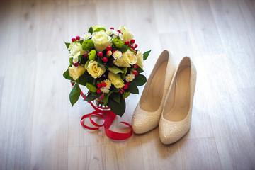 букет невесты, туфли