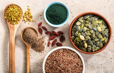 various superfoods on kitchen table