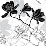 Monochrome  seamless  background with magnolia.