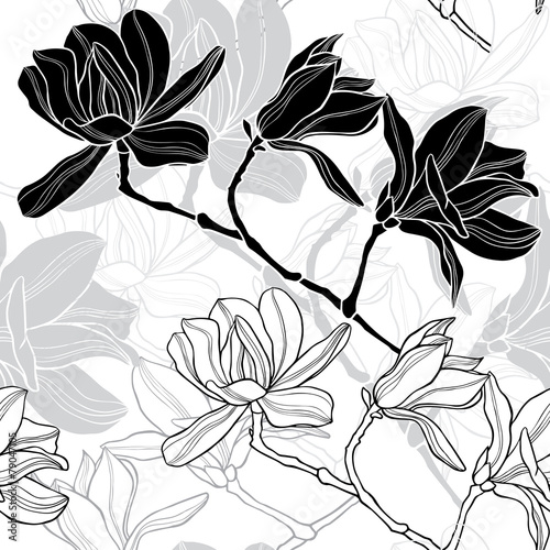 Monochrome  seamless  background with magnolia. - 79047105