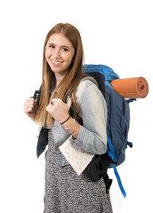 young tourist woman happy carrying backpack and city map