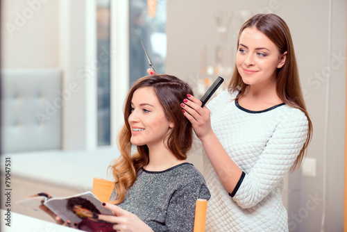canvas print picture Beautiful woman in hair salon