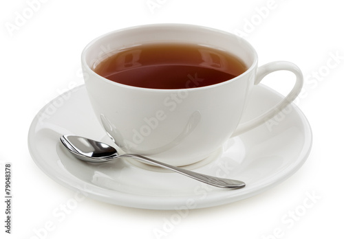 Foto op Canvas Thee Cup of tea isolated on white background