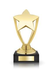 Gold star award isolated on white background