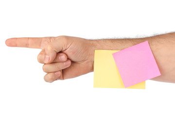 Hand and note paper