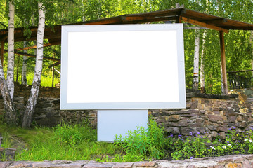 rectangular empty white metal banner