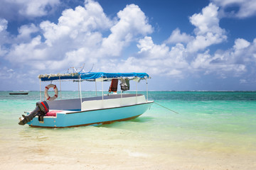 sub charter boat on the sea in mautitius tropical island