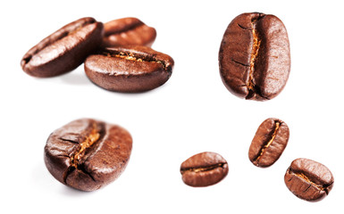 Collection of Roasted Coffee Beans isolated on white background.