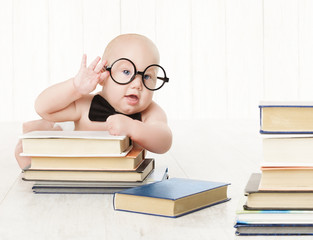 Baby in Glasses and Books, Kids Early Childhood Education and De