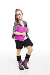 School Girl Child in Glasses Holding Book. Student Schoolgirl
