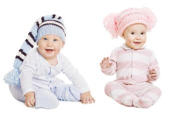 Baby Boy Girl Portrait, Little Kids In Woolen Hat, Happy Childre
