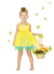 Little Girl in Children Dress with Basket, Happy Smiling Kid