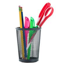Office Supplies in Metal Basket