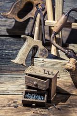Nails and Tool box carpenter