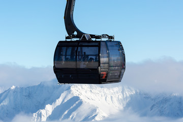 Cable car at ski resort