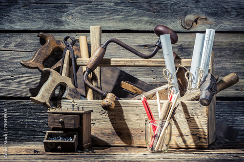Leinwanddruck Bild Vintage small carpentry workshop