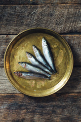Smelt fishes in the plate