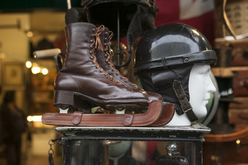 wooden ice skates and vintage at flea market