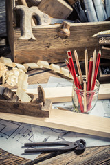 Vintage carpentry workbench and drawing workshop